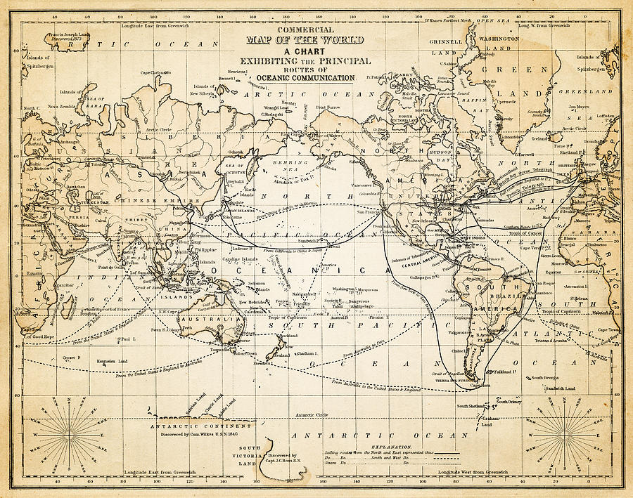 Map Of The World 1883 Digital Art by Thepalmer