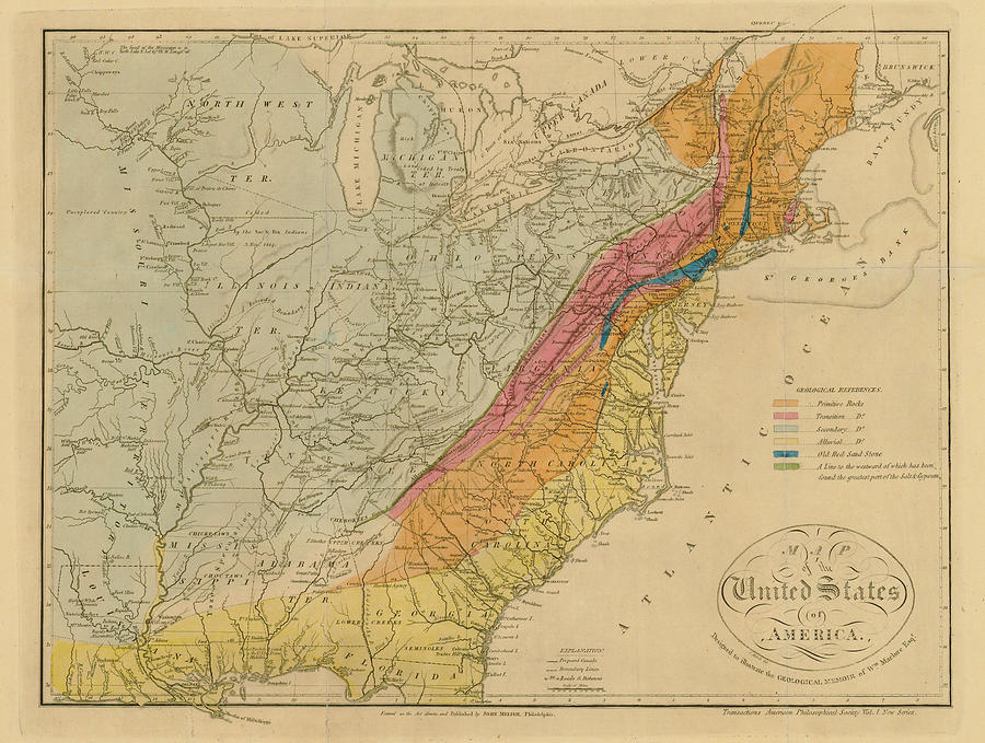 Map Of United States 1818c Digital Art by Historic Map Works Llc