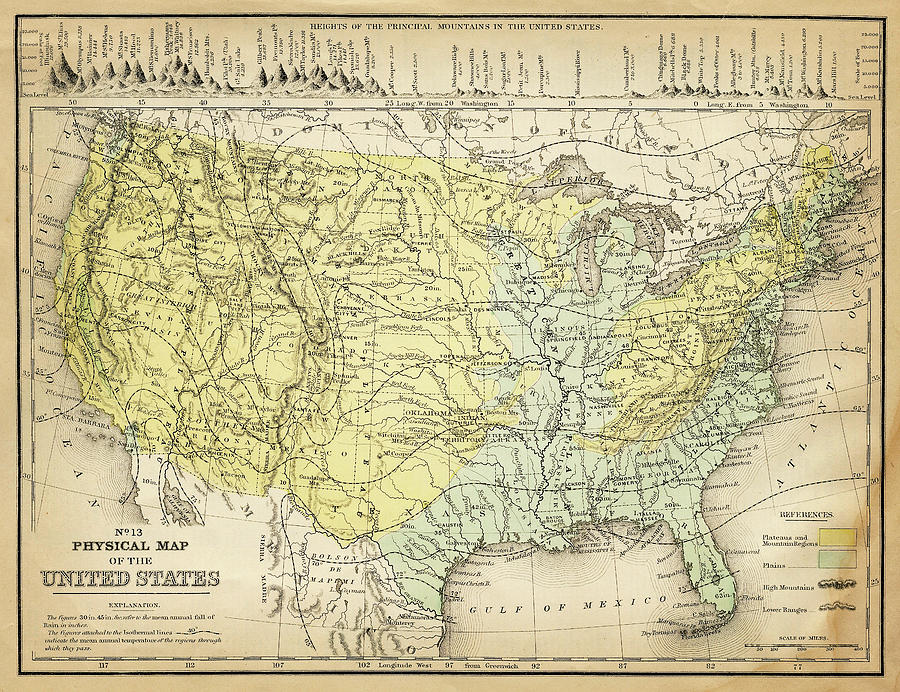 Burnt Digital Art - Map Of Usa 1867 by Thepalmer