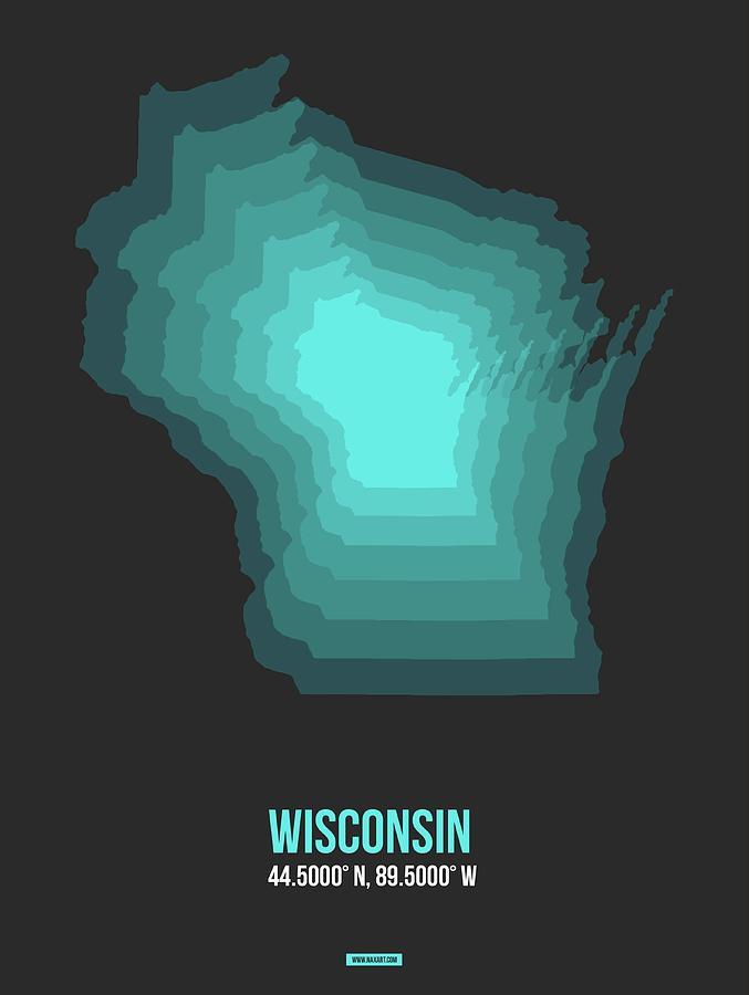 Wisconsin Map Digital Art - Map Of Wisconsin 3 by Naxart Studio