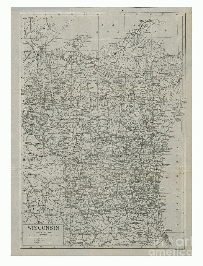 Map Of Wisconsin Drawing by Print Collector