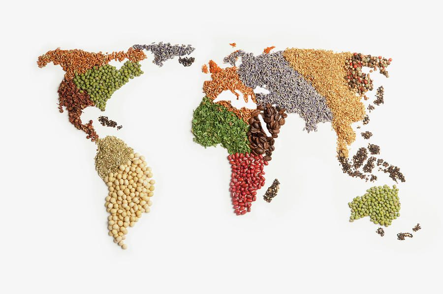 Map Of World Made Of Various Seeds Photograph by Imagemore Co, Ltd.