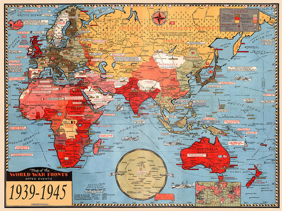 Map Of World War 2 by Andrew Fare