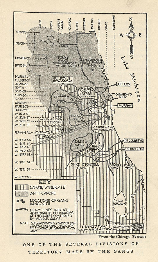 Map Showing Divisions Of Gang Photograph by Chicago History Museum
