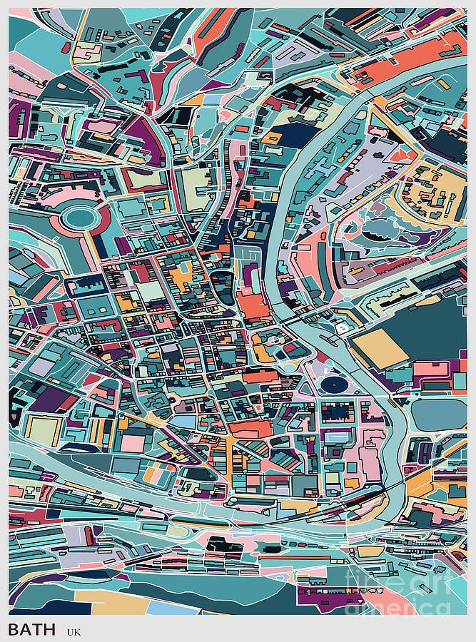Map Style Art Background,bath City Digital Art by Shuoshu