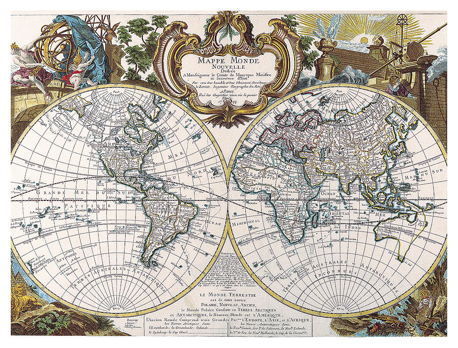 Mappe Monde - Antique World Map - Old Cartographic Map ...