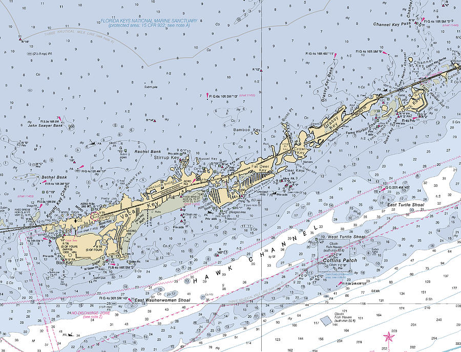 Marathon and Duck Keys Custom NOAA Nautical Chart by Paul and Janice Russell