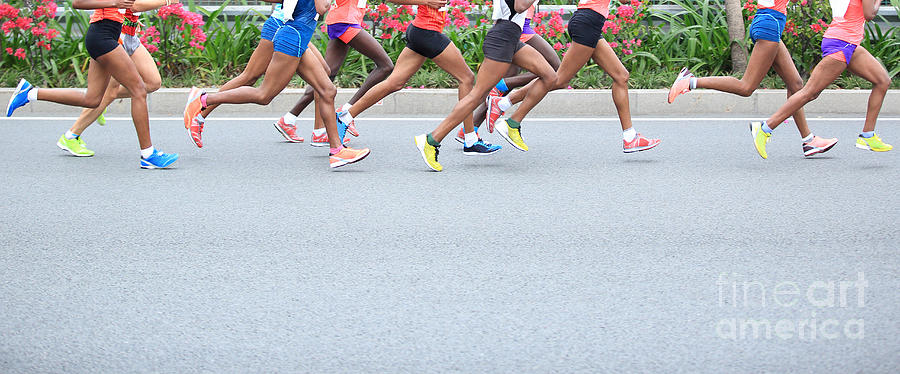 Compete Photograph - Marathon Running Race, People Feet On by Lzf