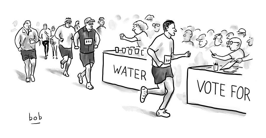 Marathon Voting Drawing by Bob Eckstein