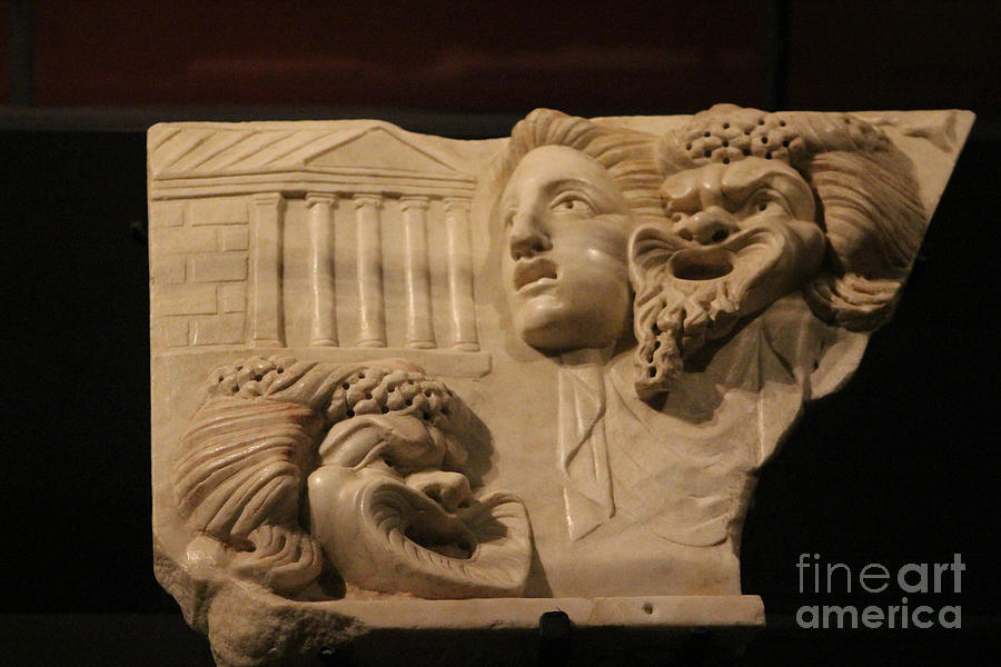 Comic Photograph - Marble Relief of Character Theater Masks at Pompeii Exhibit by Colleen Cornelius