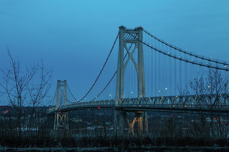 Hudson River Photograph - March Evening at Mid-Hudson Bridge 2019 by Jeff Severson
