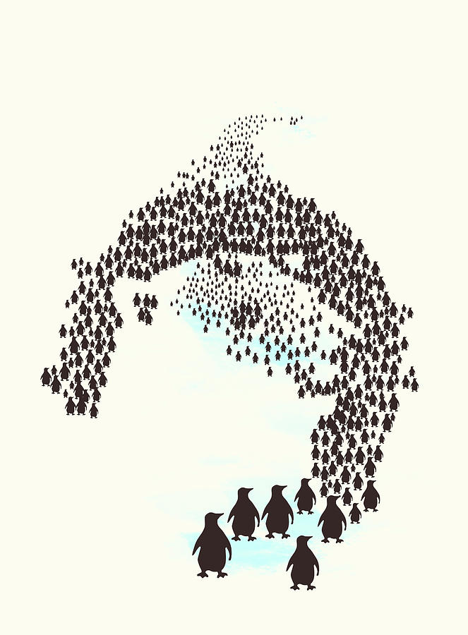 Penguins Digital Art - March Of The Penguins by Neelanjana Bandyopadhyay