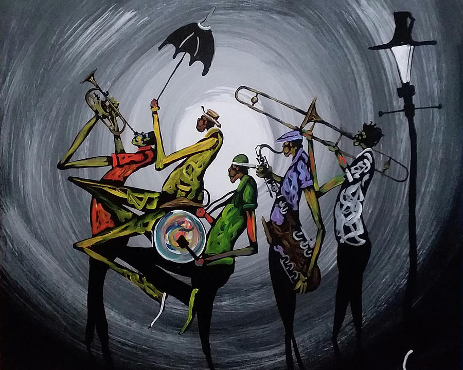 Second Line Painting - Marching On by Guilbeaux Gallery