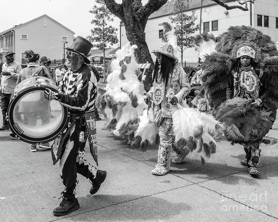Marching On Mardi Gras Indian Day - Bw Photograph