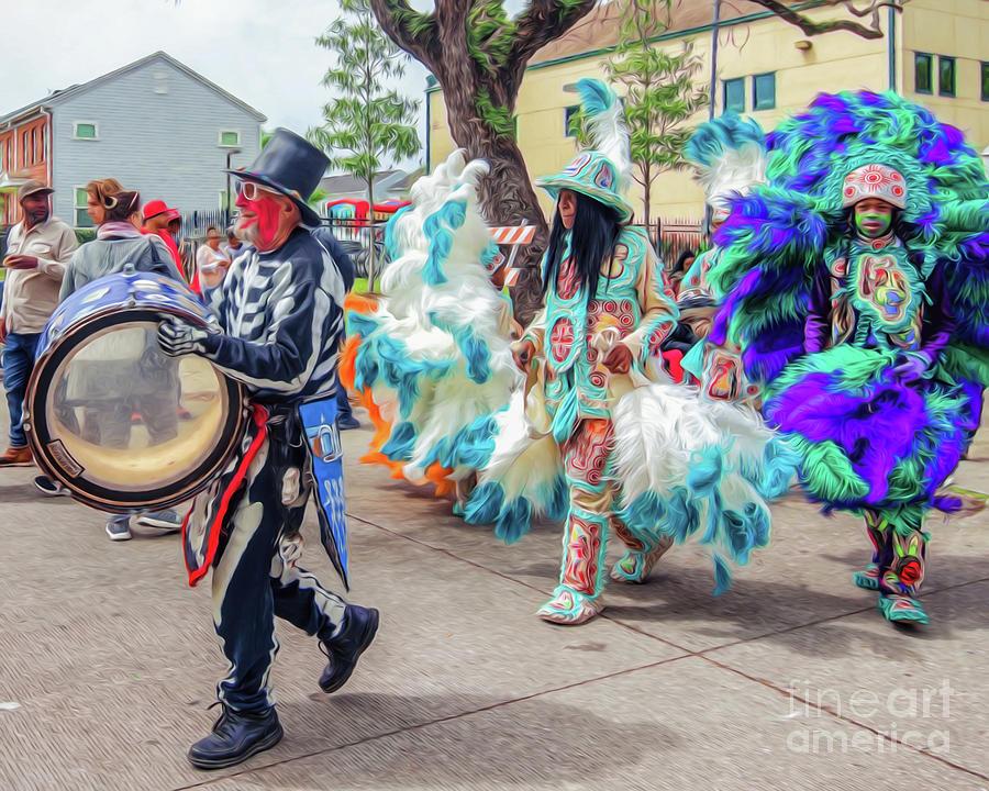 Marching on Mardi Gras Indian Day - Digital Art by Kathleen K Parker