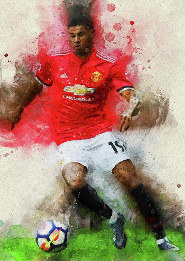 Art Art Prints Wall Art Gift Art Print Marcus Rashford Football Sport Manchester United Zsco Iq