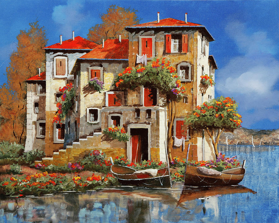 House By The Sea Painting - Mareblu-tetti Rossi by Guido Borelli
