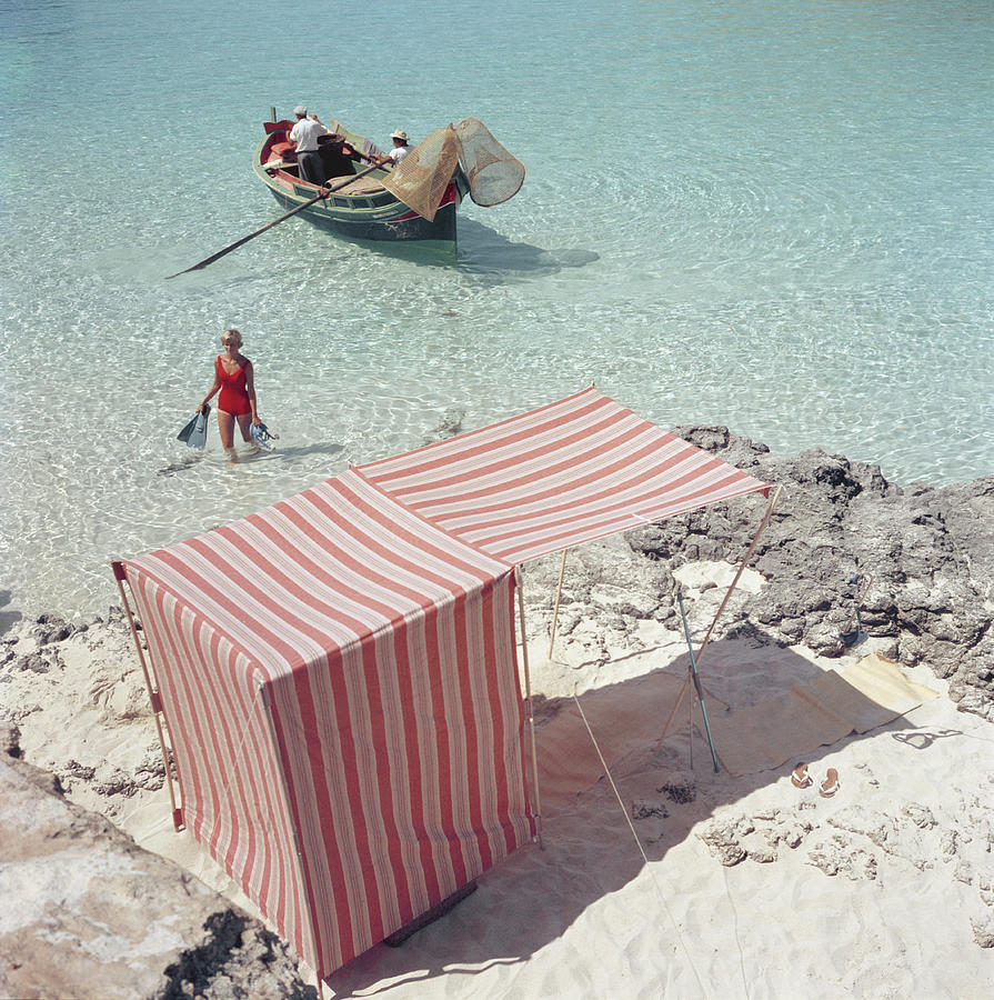 People Photograph - Marietine Birnie, Blue Lagoon by Slim Aarons