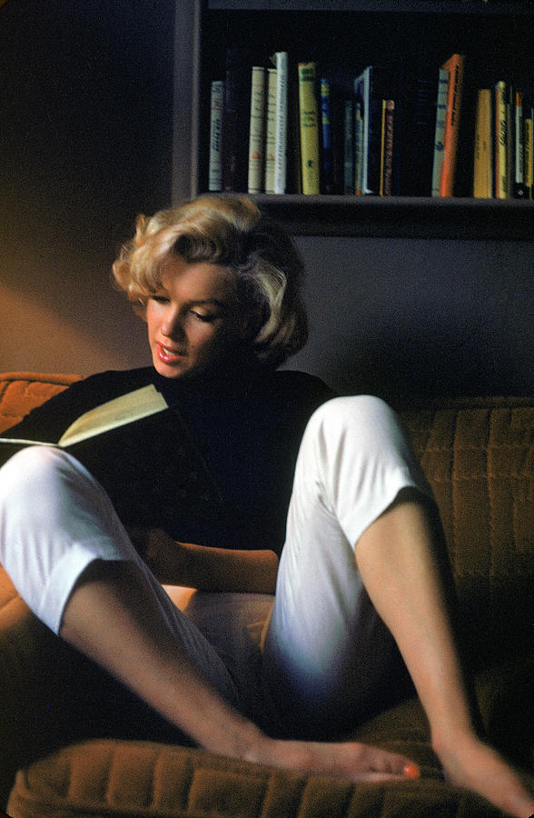 Marilyn Monroe Reading At Home Photograph by Alfred Eisenstaedt