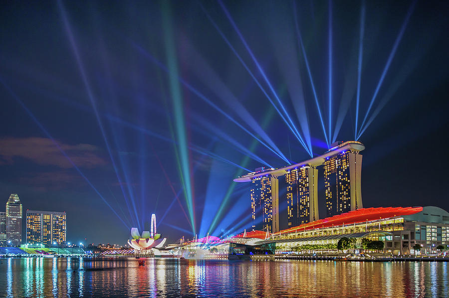 Marina Bay Light Show Photograph by Coolbiere Photograph