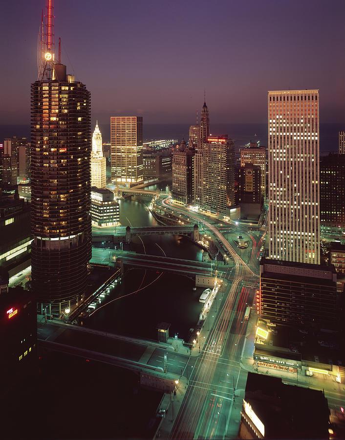 Marina City, Wacker Drive, & The Photograph by Chicago History Museum