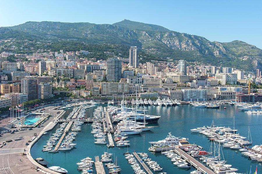 Aerial Photograph - Marina, Port Hercules, Monaco, Cote by Lisa S. Engelbrecht