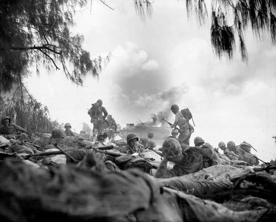 Marines On The Beach During Battle Of Photograph by Us Marine Corps
