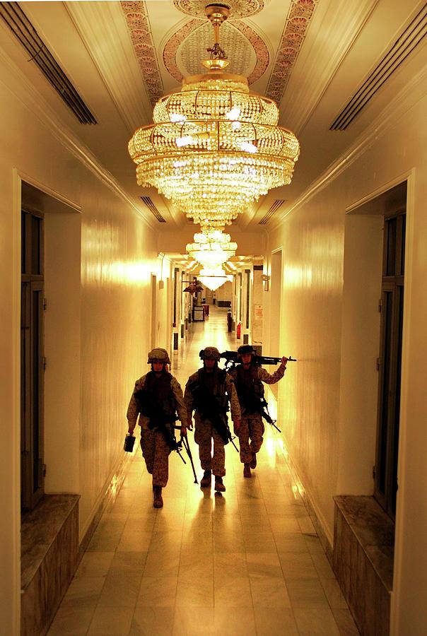 Marines Secure U.s. Embassy In Baghdad Photograph by John Moore