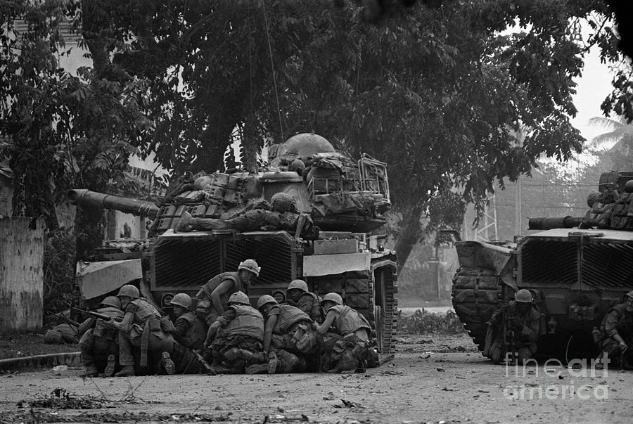 Marines Take Cover Photograph by Bettmann