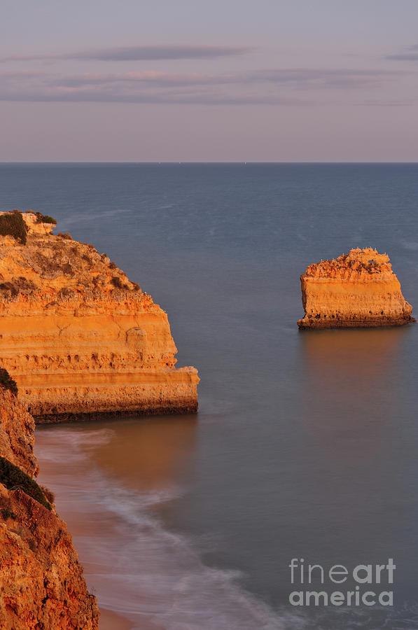 Marinha Beach Twilight over the Cliffs by Angelo DeVal
