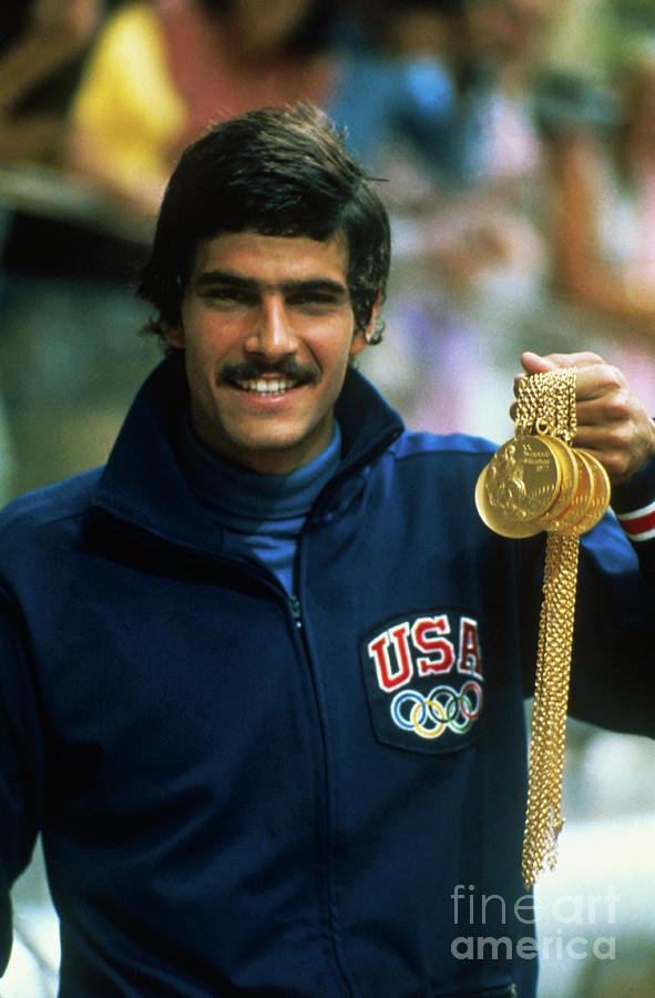 Mark Spitz Holding Five Gold Medals Photograph by Bettmann