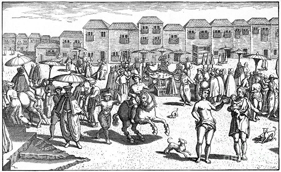 Market In Goa, India, 1599 Drawing by Print Collector