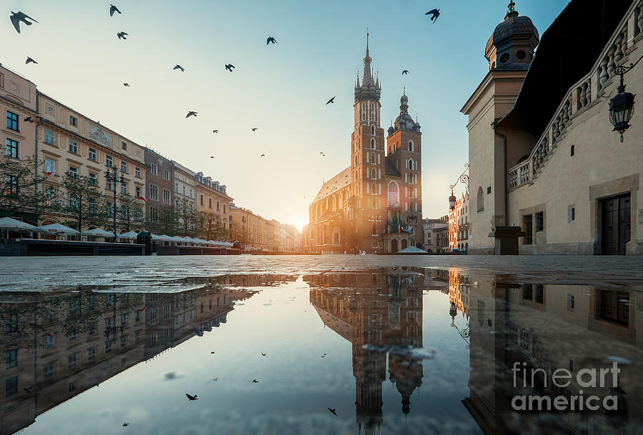 City Photograph - Market Square And St. Marys Basilica In by Liseykina