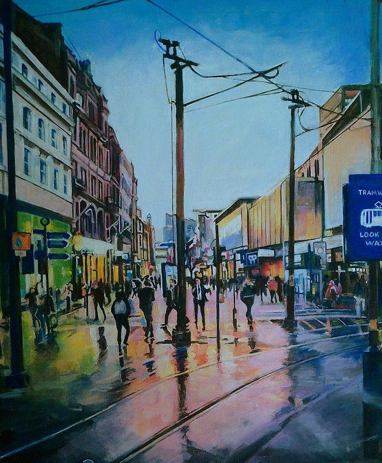 Market Street, Manchester, After Rain by Rosanne Gartner