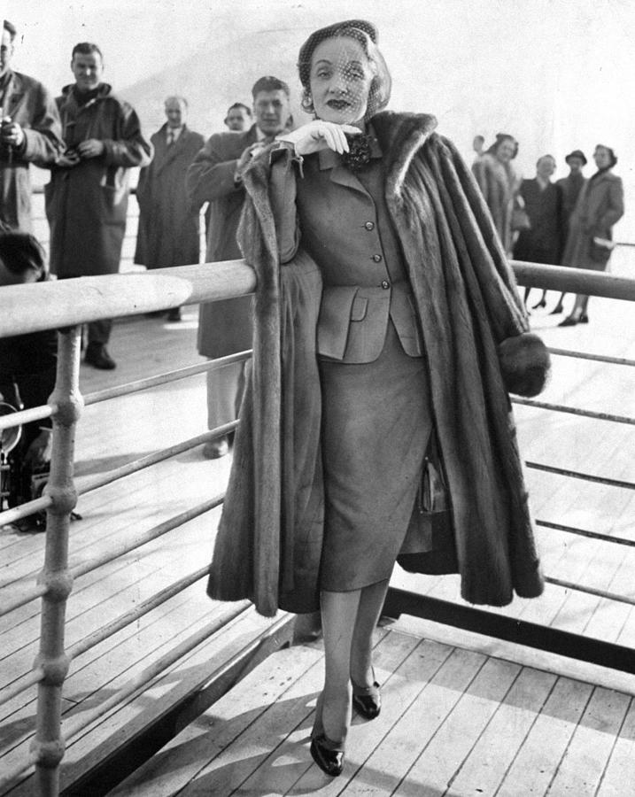 Marlene Dietrich Arrives Aboard The Photograph by New York Daily News Archive