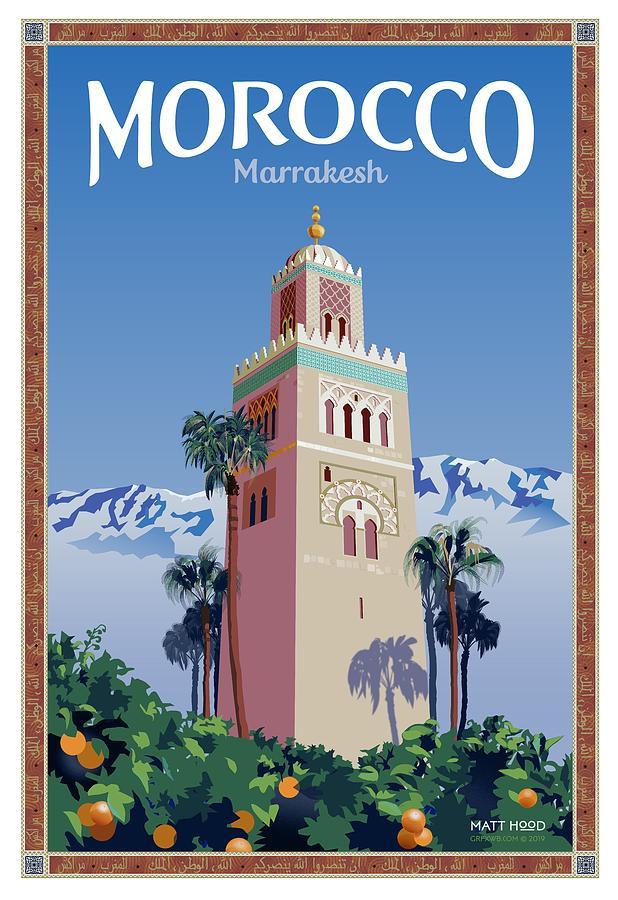 Marrakesh Travel Poster by Matt Hood