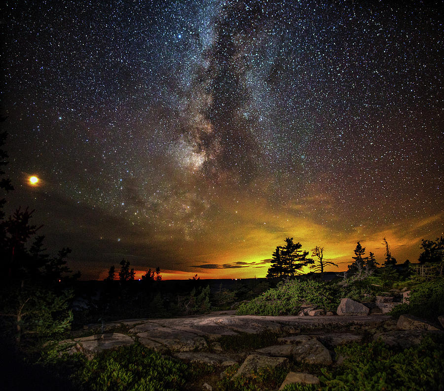 Mars and the Milky Way over Schoodic by Brent L Ander