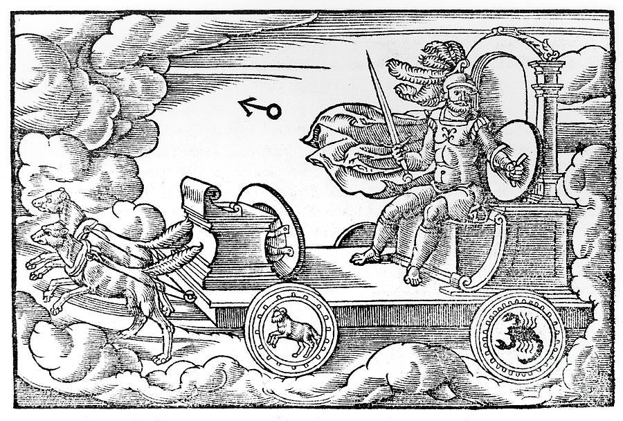 Mars, Roman God Of War, 1569. Artist Drawing by Print Collector
