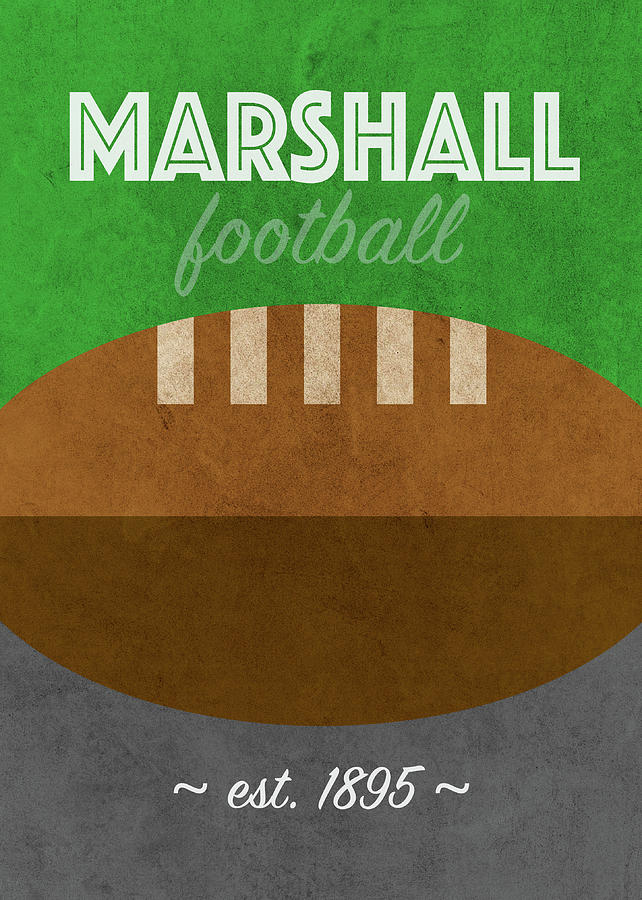 Marshall Mixed Media - Marshall Football College Retro Vintage Poster University Series by Design Turnpike