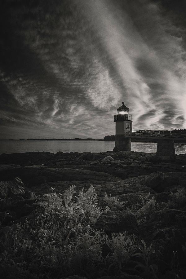 Marshall Point Light BW by Robert Fawcett
