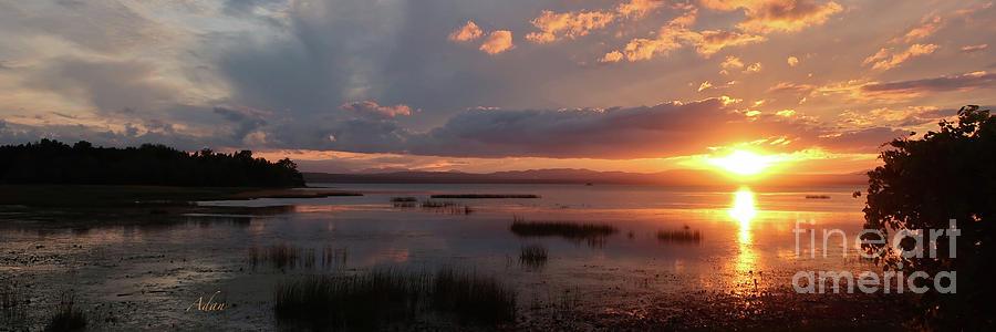 Marsh Land Photograph - Marshland Sunset With Reflections The Island Line Trail Vermont Panorama by Felipe Adan Lerma