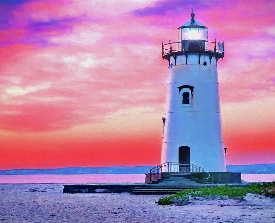 Martha's Vineyard Lighthouse at Sunset by Russ Harris