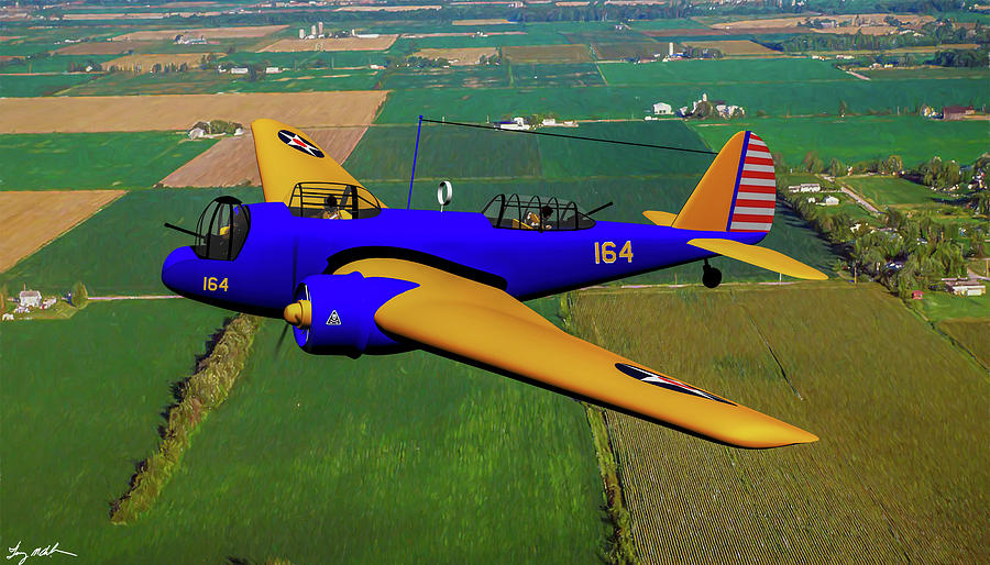 Martin B-10 over the Heartland - Oil by Tommy Anderson