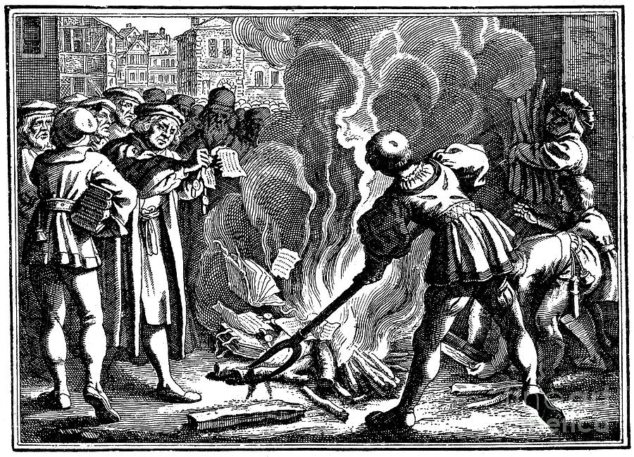Martin Luther Burning The Papal Bull Drawing by Print Collector