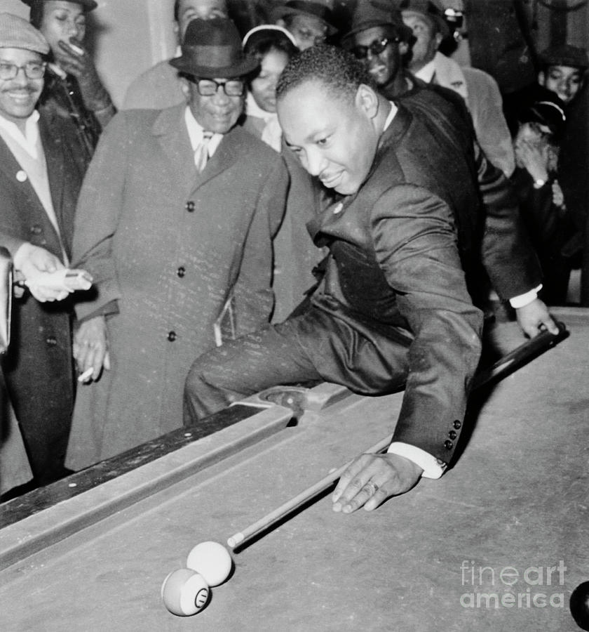 Martin Luther King Playing Pool Photograph by Bettmann