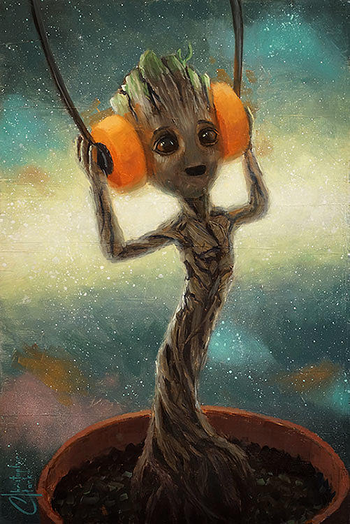 Marvel Baby Groot Painting By Christopher Clark Pixels