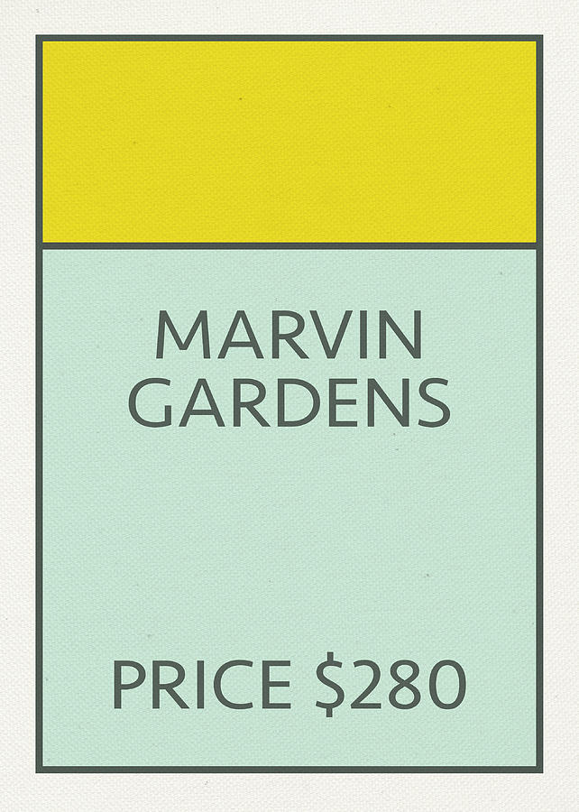 Marvin Gardens Vintage Retro Monopoly Board Game Card Mixed Media By Design Turnpike