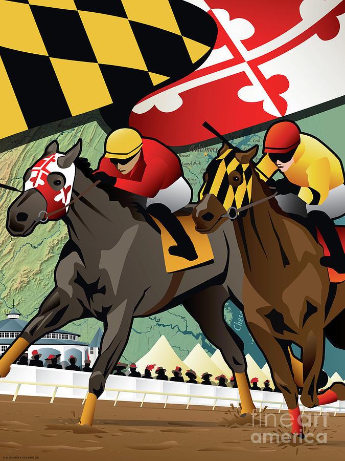 Maryland Digital Art - Maryland Horse Racing Derby by Joe Barsin