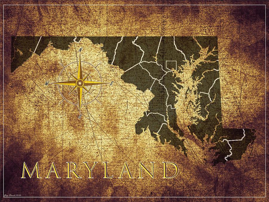 Maryland Vintage Map Style 11 by Greg Edwards