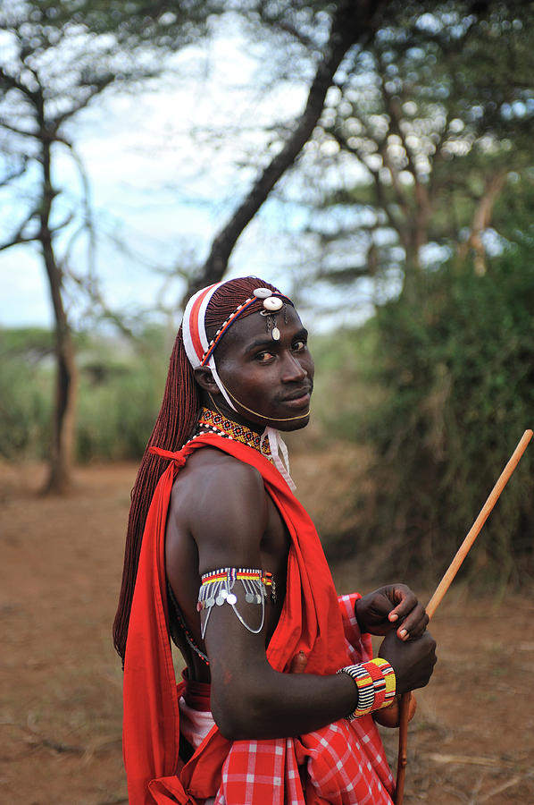 Masai Outdoors In Traditional Clothing Photograph by Christophe cerisier